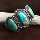 Beautiful Handmade Stamped Sterling Silver Blue Gem Turquoise Bracelet