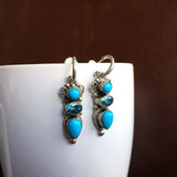 Blue Fairy Sleeping Beauty Turquoise Dangle Earrings Signed Leo Feeney