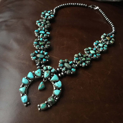 Sterling Navajo Pearl Carico Lake Squash Blossom Necklace Signed Ella Peters