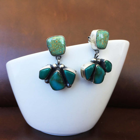 Assymetric Geometrial Carico Lake Turquoise Sterling Silver Dangle Earrings