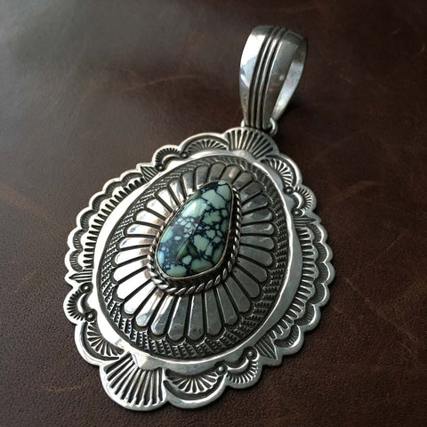 Damele Turquoise Sterling Silver Stamp Pendant Only Hallmarked Arnold Blackgoat