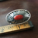 Beautiful Long Bright Red Coral Sterling Ring Signed Marita Benally Size 8