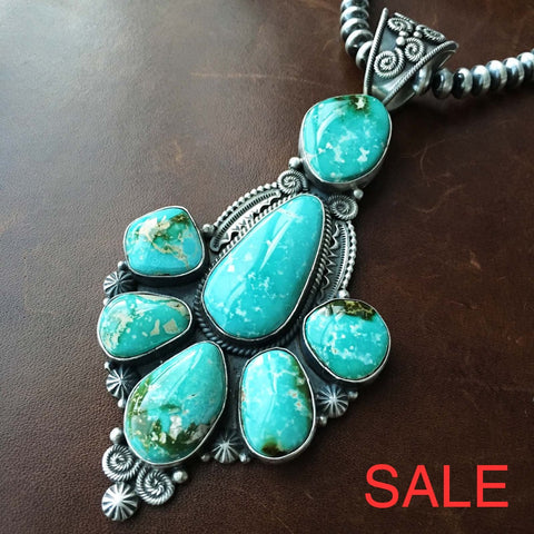 7 Stone Statement Royston Turquoise Necklace Handmade And Signed M R Necklaces / Pendants