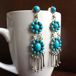 Double Daisy Sleeping Beauty Turquoise Dangle Earrings Signed Carlos Santa Fe