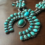 Blue and Green Campitos Turquoise Squash Blossom Necklace Signed Bobby Johnson