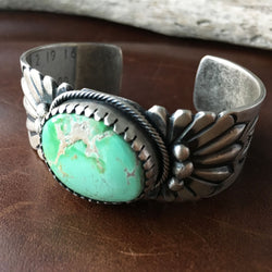 Beautiful Light Green Carico Lake Turquoise Stamped Sterling Silver Bracelet