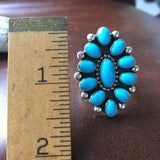 Handmade Sterling Sleeping Beauty Turquoise Flower Cluster Ring Size 9