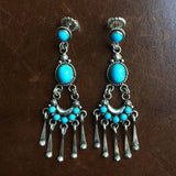 Eyes of Neptune Sleeping Beauty Turquoise Dangle Earrings Signed Carlos Santa Fe