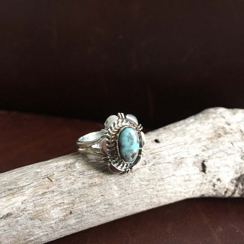 Beautiful Mini Sterling Silver Single Stone Dry Creek Turquoise Ring Size 6