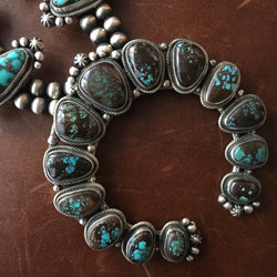 Double Oxidized Stablized High Grade Bisbee Squash Blossom Necklace Signed LS