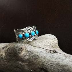 Classic Natural Sterling Silver Mini Cluster Sleeping Beauty Turquoise Ring Size 6