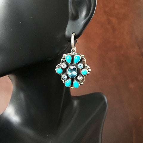 Round Dangle Earrings Blue Topaz and Sleeping Beauty Handmade By Leo Feeney