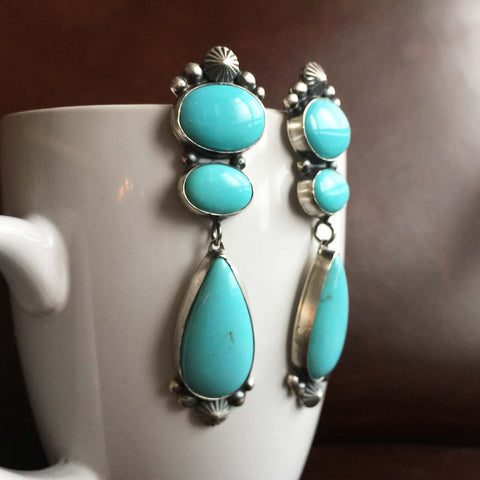 Beautiful Handmade Large 3-Stone Campitos Long Dangle Statement Earrings