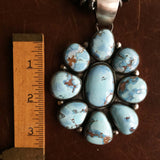 Large Statement 9-Stoned Desert Lavender Flower Pendant with Navajo Beads