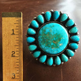 Beautiful Large Circular Mini Cluster Blue Royston Flower Statement Ring Size 10.5