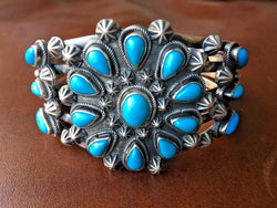 Native American Cluster Sleeping Beauty Cuff Bracelet Signed by Marita Benally