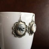 Beautiful Handmade Stamped Sterling Silver White Buffalo Oval Earrings