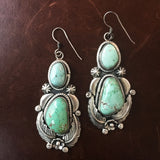 Two Stone Carico Lake Turquoise Sterling Earrings Handmade Silver Flower