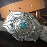 For Men Large Chinese Hubei Stamped Sterling Silver Overlay Belt Buckle