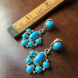 Natural Sleeping Beauty Turquoise Cluster Earrings Signed by Artist Emma Lincoln