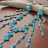 Natural Sleeping Beauty Turquoise Sterling Waterfall Necklace Pansy Johnson