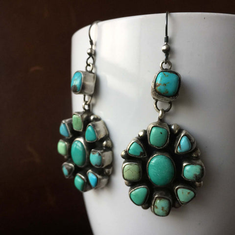 Beautiful Natural Blue Carico Lake Turquoise Medium Cluster Flower Earrings
