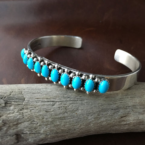 Handmade Mini Cluster Sleeping Beauty Turquoise Sterling Silver Bangle Bracelet