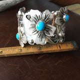 Large Stunning Sterling Silver Sleeping Beauty Turquoise 5 Flower Bracelet Cuff