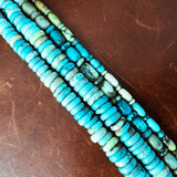 "16"" Carico Lake Turquoise Beaded Necklace Flat Beads Rare Collection"