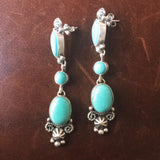 Long Dangle Sterling Cluster Campitos Turquoise Earrings Handmade Signed