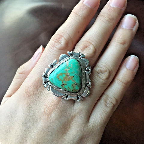 Handmade Natural Carico Lake Turquoise Sterling Silver Ring Sz 9 Marita Benally