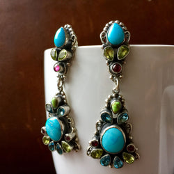 Natural Sleeping Beauty Turquoise with mixed Topaz Earrings Leo Feeney