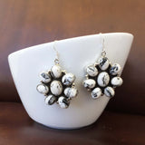 Classic Sterling Silver White Buffalo Clustered Flower Earrings Signed