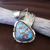 Handmade Gobi Desert Lavender Pendant with Liquid Sterling Silver Necklace