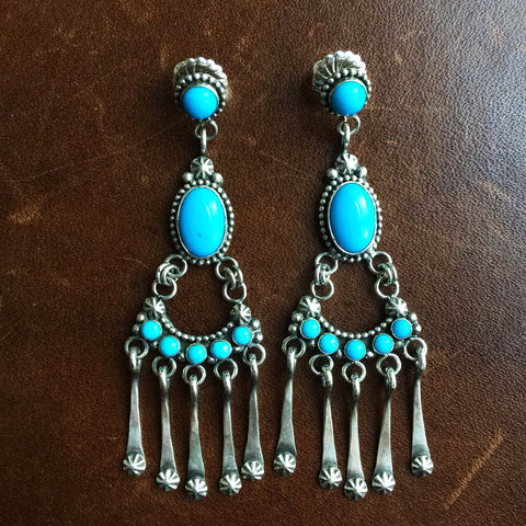 Pearls of Neptune Sleeping Beauty Turquoise Earrings Signed Carlos Santa Fe