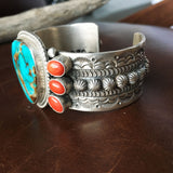 Top Grade Natural Royston and Coral Sterling Cuff Signed Handmade M and R