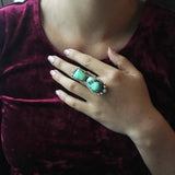 Beautiful Two Stoned Mint Green Carico Lake Turquoise Sterling Ring Size 6.5