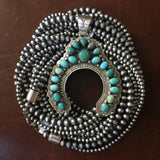 Navajo Handmade Oxidized Sterling 3 Strand Beads Ultra Long 60 Inch Necklace