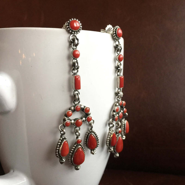 Navajo Handmade Mini Clustered 11.2 Carat Red Coral Dangle Earrings
