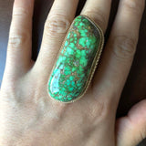 Unisex Lime Green Webbed Carico Lake Turquoise Ring 14K Gold Signed Size 9