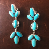 Classy Natural 7 Stone Campitos Turquoise Sterling Earrings Handmade Signed