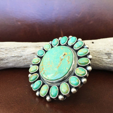 Large Navajo Sterling Silver Clustered Royston Turquoise Flower Ring Size 7