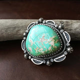 Large Royston Turquoise Sterling Silver Statement Ring Size 9 Signed