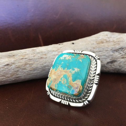 Navajo Handmade Sterling Silver Rounded Square Royston Turquoise Ring Size 6.5