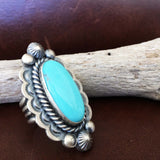 Large Long Oval Handmade Stamped Sterling Silver Blue Campitos Ring Size 8