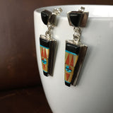 Sterling Silver Black Onyx Inlay with Native Design Dangle Earrings