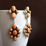 Beautiful Sterling Silver Mini Cluster Light Orange Spiny Oyster Dangle Earrings
