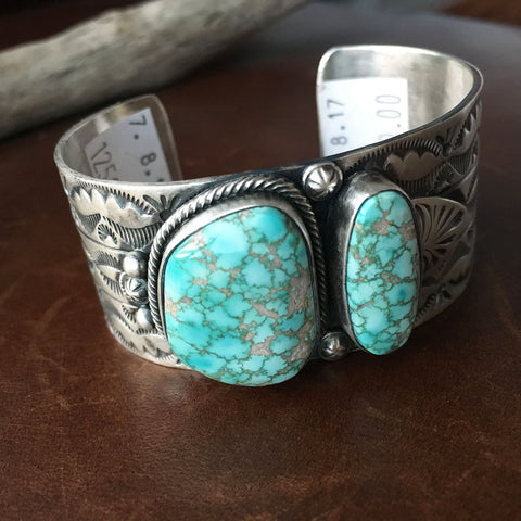 Light Blue Carico Lake Turquoise Stamped Sterling Silver Overlay Bracelet Cuff