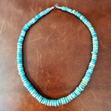 "16"" Carico Lake Turquoise Beaded Necklace Flat Beads Collector's Pick"