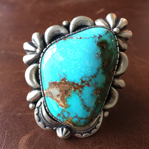 Handmade Royston Turquoise Statement Ring Signed by Danny Clark Size 8